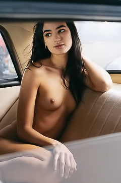 American Babe Sarah Mollica Strippin In Car